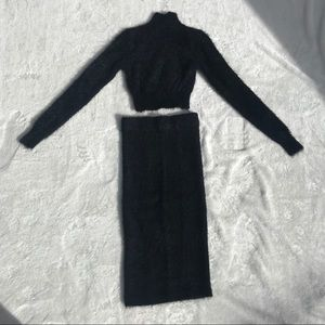Black Fuzzy 2 Piece Skirt and Turtleneck Set Sz S